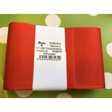 Taftová stuha červená 72mm