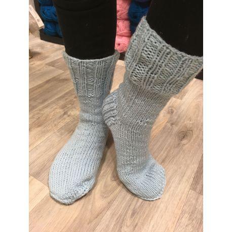 Ponožky pletené světle modrá