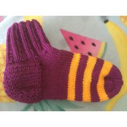 Kotníkové ponožky - fialová proužky