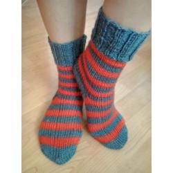 Ponožky šedá-červená