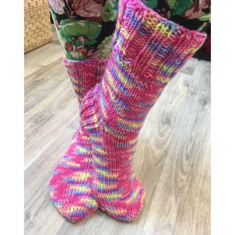 Ponožky pletené samovzorovací zeleno modrá