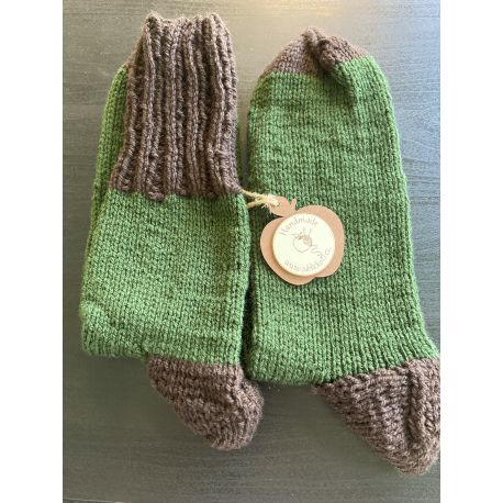 Ponožky šedé se zeleným pruhem