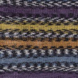 Crazy color - barevné fialovožluté pruhy, šedý melír